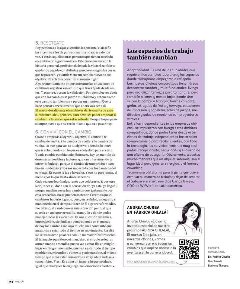 Se necesita Flexibilidad_Revista Ohlalá Nota a Andrea Churba